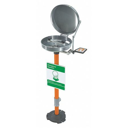 Eyewash Station w/Cover, Pedestal, SS, 16 W