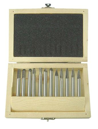 Carbide Bur Set, Single Cut, 1/4 In, 12 Pcs
