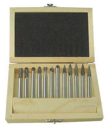 Carbide Bur Set, Dbl Cut, 1/4 In, 12 Pcs