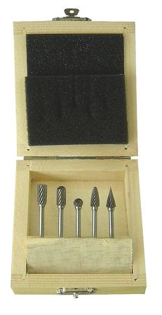 Carbide Bur Set, Single Cut, 1/8 In, 5 Pcs