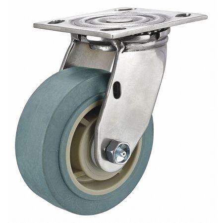 Rigid Plate Caster, TPR, 4 in., 350 lb.