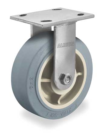 Rigid Plate Caster, TPR, 5 in., 375 lb.