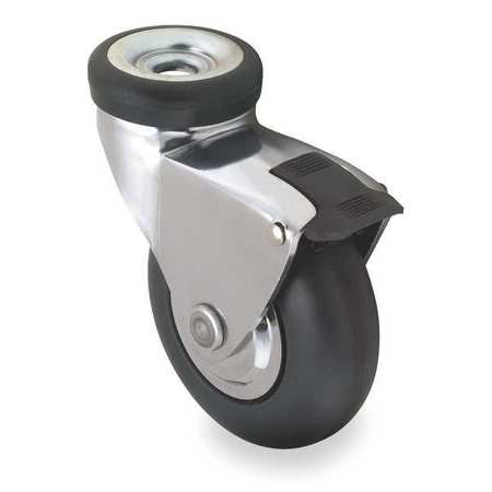 Bolt Hole Swivel Caster w/Brake, Neoprene