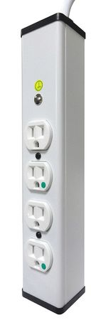 Outlet Strip, 15A, 120V, White