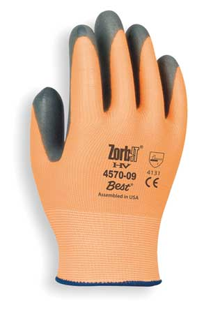 Coated Gloves, L, Gray/Orange, PR
