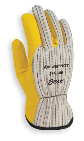 Coated Chore Gloves, Poly/Cotton, L, Ylw, PR