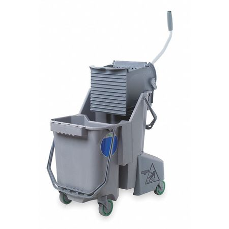 Mop Bucket and Wringer, 8 gal., Gray