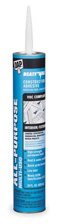 Construction Adhesive, Latex, 29 Oz, White