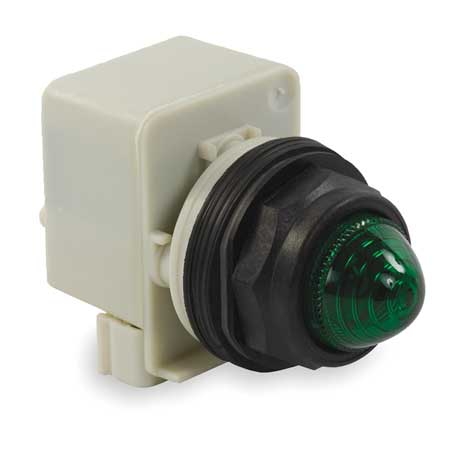 Pilot Light, 30mm, Plastic, Green, 120VAC