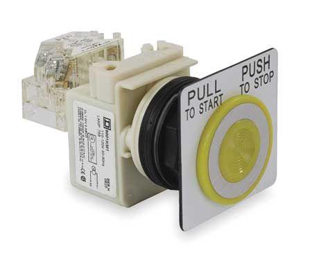Illuminated Push Button, 30mm, Yellow