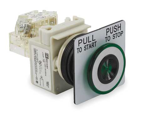 Illuminated Push Button, 30mm, Green, 6VAC