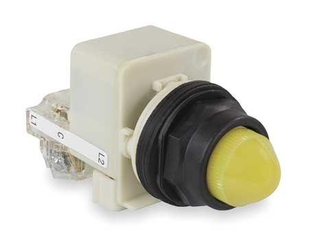 Push to Test Pilot Light, Yellow, Incand