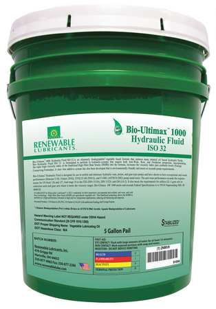 Hydraulic Oil,  Bio,  Ultimax 1000,  5 gal.,  ISO 32