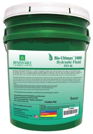 Hydraulic Oil,  Bio,  Ultimax 1000,  5 gal.,  ISO 46