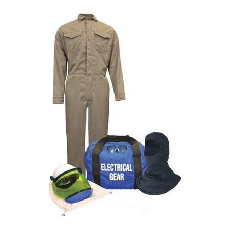 Flame-Resist Coverall Kit, Khaki, 2XL, HRC2