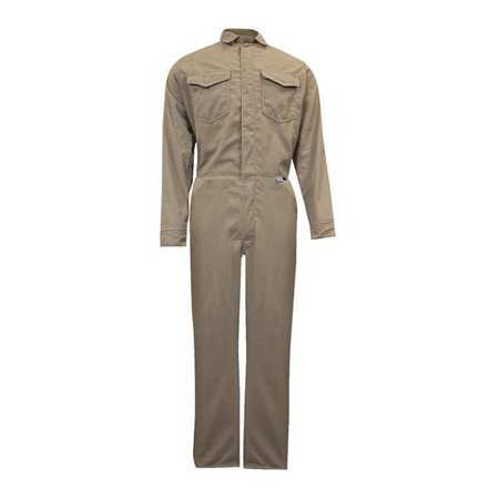 Flame-Resistant Coverall, Khaki, M, HRC2