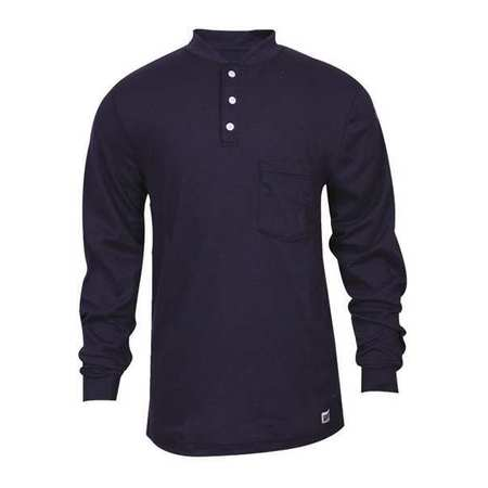 FR Lng Slv Henley Shirt, Nvy, 2XL, Button