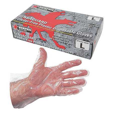 Disposable Gloves, Polyethylene, S, Clear, PK500