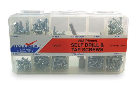 Self-Drilling/Tapping Screw Asst, 253 PC