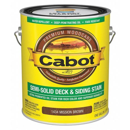 Cabot Semi Solid Stain Mission Brown Flat 1gal 1400001434007