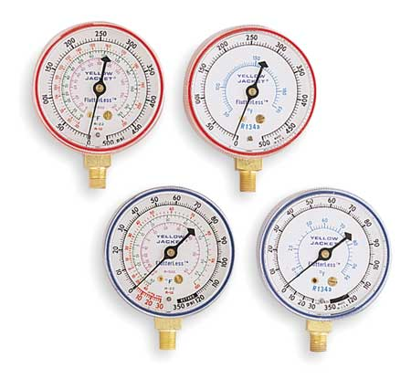 Gauge, 2-1/2 In Dia, Low Side, Blue, 120 psi