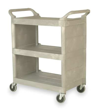 Enclosed  Cart, Poly, Platinum, 300 lb.
