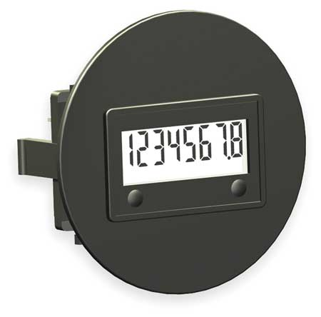 LCD Hour Meter, SAE Round Flush, 8 digit