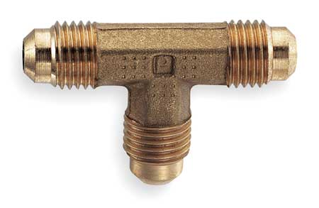 Union Tee, 45deg, Brass, Tube, 3/8 In., PK10