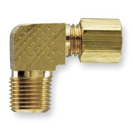 "3/8"" Compression x 1/2"" MNPT Brass 90 Degree Elbow 10PK"