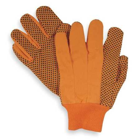 Canvas Gloves, Cotton,  L, High Visibility Orange, PR