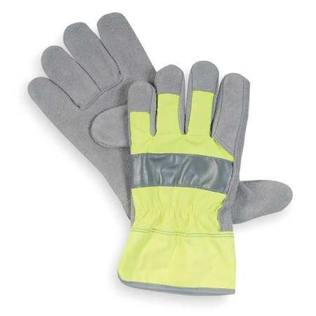 Leather Gloves, Cowhide, High Visibility Lime, L, PR