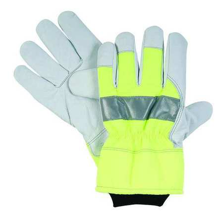 Cold Protection Gloves, L, High Visibility Green, PR