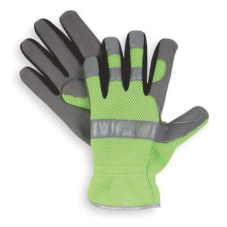 Mechanics Gloves, Hi-Vis, Slip On, M, PR