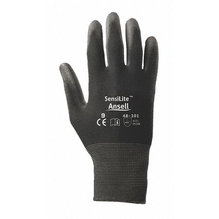 Coated Gloves, 2XL, Black, Polyurethane, PR