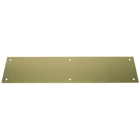 "Door Push Plate,  Brass,  15""L x 3-1/2""W,  0.05"" Proj."