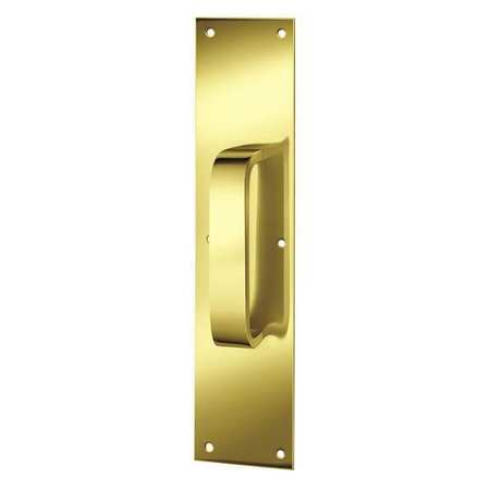 Pull Plate, Rectangle, Brass, 3 1/2 x15 In