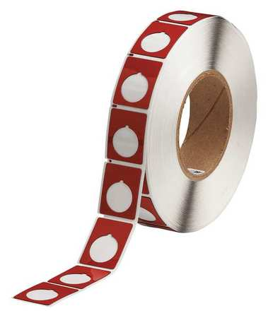 "1-1/5"" x 1-1/2"" Red Adhesive Label,  Glossy Polyester"