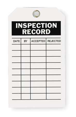 Inspection Tag, 7 x 4 In, Bk/Wht, Met, PK10