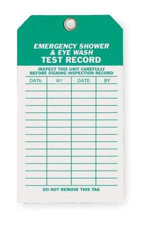 Emer Sh & Eye Wash Test Rcd Tag, Met, PK10