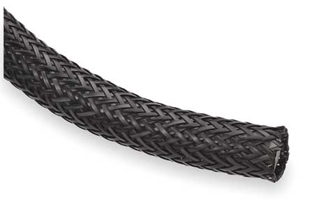 Braided Sleeving, 1.000 In., 10 ft., Black