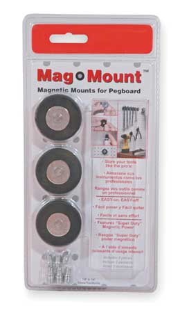 Magnetic Pegboard Mount, 1 1/2, PK3