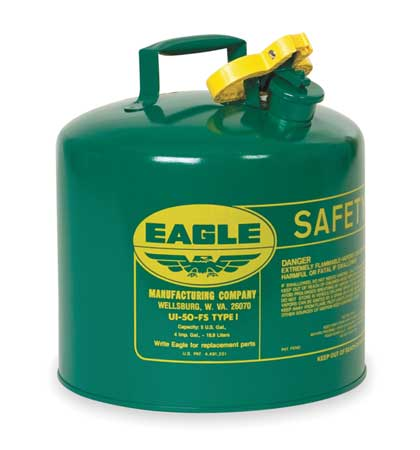 Type I Safety Can, 5 gal, Green, 13-1/2In