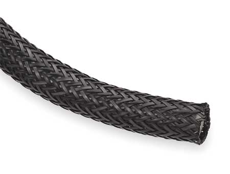 Braided Sleeving, 0.500 In., 100 ft., Black