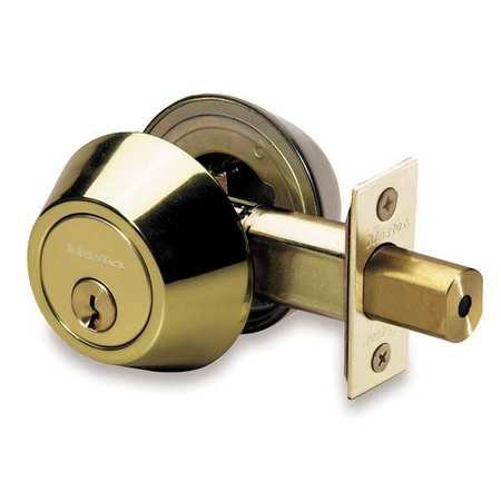 Key Contrl Deadbolt, Med.Duty, Brass