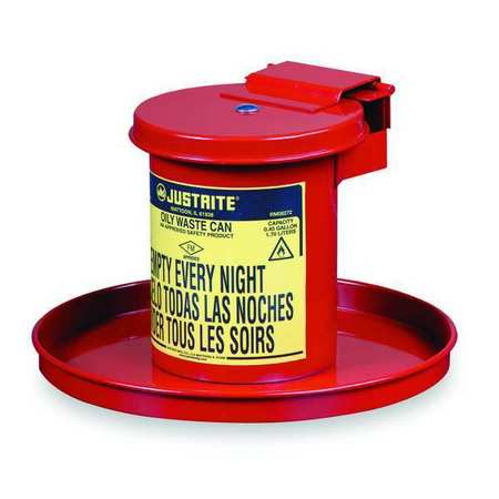 Drain Can, 1/2 Gal., Red, Galvanized Steel