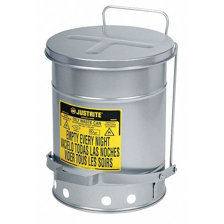 Oily Waste Can, 21 Gal., Steel, Silver