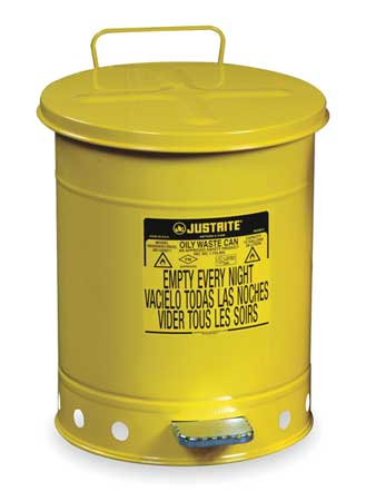 Oily Waste Can, 14 Gal., Steel, Yellow
