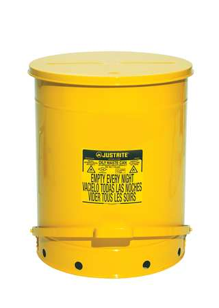 Oily Waste Can, 21 Gal., Steel, Yellow