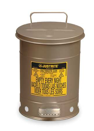 Oily Waste Can, 6 Gal., Steel, Silver