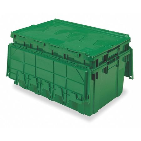 Attached Lid Container, 2.25 cu ft, Green